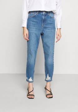 Topshop Petite - MOM RIP HEM - Jeans Relaxed Fit - blue denim