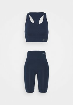 Hummel - SEAMLESS SPORTS TOP AND SEAMLESS CYLING SHORTS SET - Top - black iris