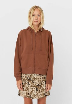Stradivarius - MIT KAPUZE - Sweatjacke - dark brown