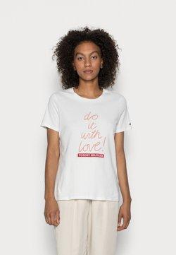 Tommy Hilfiger - SLOGAN - T-shirt z nadrukiem - ecru