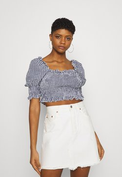 Missguided - GINGHAM SHIRRED PUFF SLEEVE CROP - T-Shirt print - navy