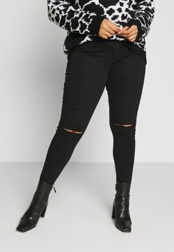 Missguided Plus - VICE HIGHWAISTED SLASH KNEE  - Jeans Skinny Fit - black