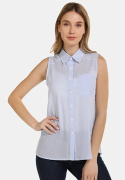 usha - BLUSENTOP - Overhemdblouse - hellblau gestreift