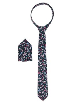 Only & Sons - ONSTBOX TIE & HANKERCHIEF SET - Pocket square - black/misty rose flowers