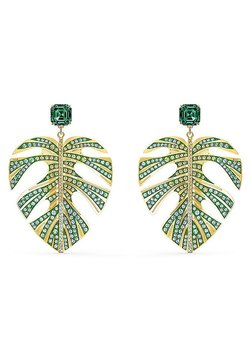 Swarovski - TROPICAL LEAF PIERCED EARRINGS, GREEN, GOLD-TONE PLATED - Orecchini - gelbgold