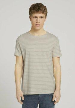 TOM TAILOR DENIM - T-Shirt print - beige tonal stripe