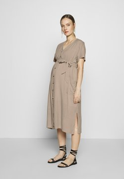 JoJo Maman Bébé - BUTTON FRONT MIDI DRESS - Skjortklänning - natural