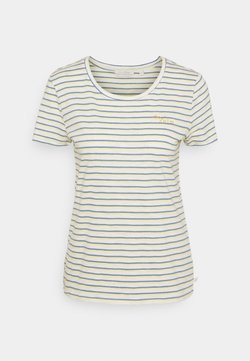 TOM TAILOR DENIM - STRIPED TEE WITH EMBRO - T-Shirt print - creme yellow blue stripe