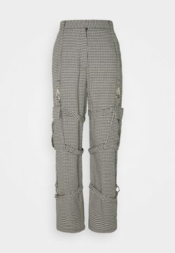 The Ragged Priest - HOUNDSTOOTH COMBATS STRAPPED POCKETS - Stoffhose - black/white