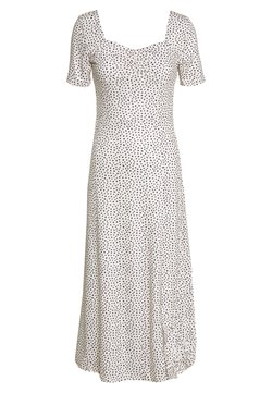 Lost Ink - MONO PRINT FRONT SPLIT SHORT SLEEVE DRESS - Vestido ligero - off-white, black