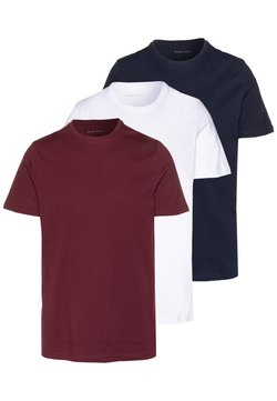 Pier One - 3 PACK - Basic T-shirt - white/dark blue/red