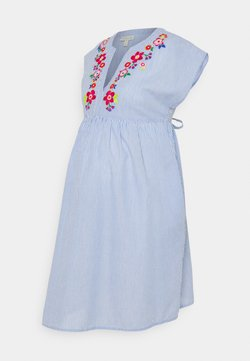 JoJo Maman Bébé - TICKING STRIPE EMBROIDERED DRESS - Freizeitkleid - blue