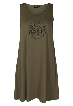 Zizzi - SLEEVELESS - Jerseykleid - ivy green road
