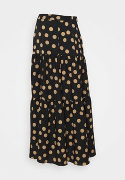 Glamorous Bloom - TIERED MAXI SKIRT - A-Linien-Rock - black/sand
