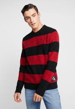 Calvin Klein Jeans - BOLD STRIPE - Strickpullover - racing red / black