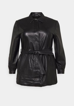 Selected Femme Curve - SLFLEA LONG JACKET - Imitatieleren jas - black