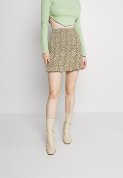 Missguided - RUCHED MINI SKIRT FLORAL - Minirock - green
