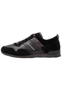 Tommy Hilfiger - ICONIC LEATHER SUEDE MIX RUNNER - Sneakers laag - black