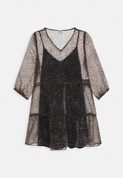 Noisy May - NMMARLA 3/4 SLEEVE DRES - Korte jurk - brown