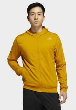 adidas Performance - AEROREADY 3-STRIPES COLD WEATHER KNIT HOODIE - Collegetakki - gold