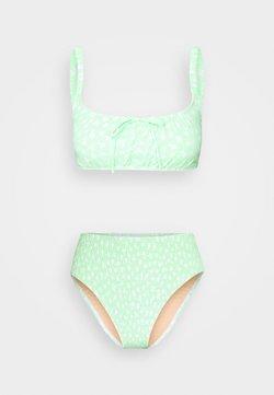 Cotton On Body - ROUCHED HIGHWAISTED CHEEKY BIKINI SET - Bikinier - mint