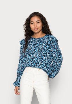 GAP Petite - RUFFEL SHOULDER - Bluse - blue