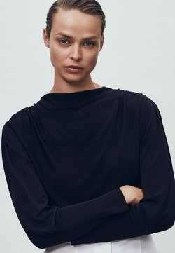 Massimo Dutti - MIT SCHULTERPOLSTERN - Long sleeved top - black