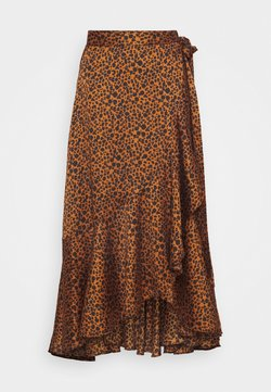 Scotch & Soda - PRINTED WRAP SKIRT - A-Linien-Rock - brown