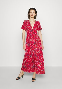 Who What Wear - THE BELTED PUFF SLEEVE DRESS - Vestido largo - confetti dot red