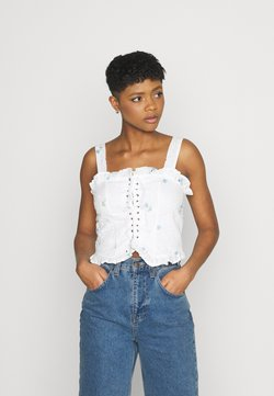 Missguided - FLORAL BRODERIE CORSET  - Top - white