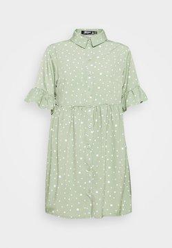 Missguided Petite - FRILL CUFF SMOCK DRESS - Vestido camisero - sage