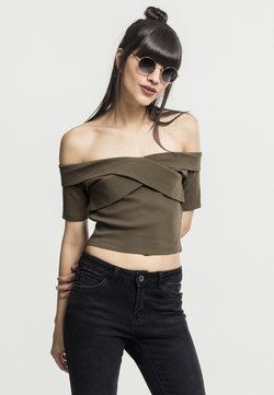 Urban Classics - LADIES OFF SHOULDER CROSS - T-Shirt basic - olive