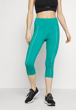 Wolf & Whistle - EXCLUSIVE CROPPED LEGGINGS WITH REFLECTIVE STRIPS - Tights - teal