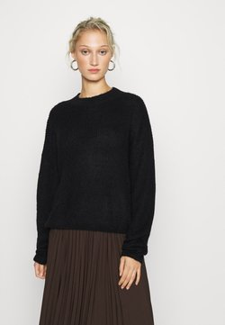 Zign - WOOL BLEND GATHERED JUMPER - Trui - black