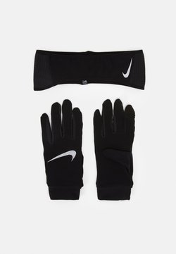 Nike Performance - MENS ESSENTIAL RUNNING HEADBAND AND GLOVE SET - Guantes - black/silver