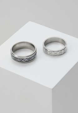 Topman - PINKY ETCHED RING SET - Bague - silver-coloured