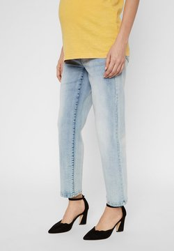 MAMALICIOUS - UMSTANDSJEANS CROPPED MOM FIT - Straight leg jeans - light blue denim