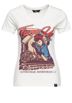 Queen Kerosin - MIT TRENDIGEM V-AUSSCH - T-shirt print - offwhite