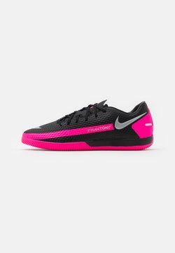 Nike Performance - PHANTOM GT ACADEMY IC - Indoor football boots - black/metallic silver/pink blast