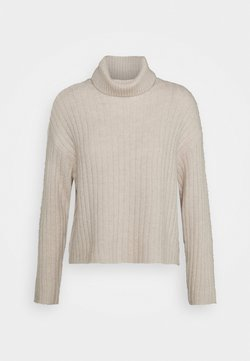 Even&Odd - RIBBED BOXY TURTLE NECK - Strickpullover - beige