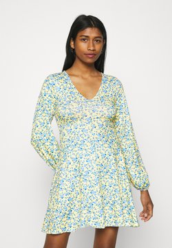 Missguided - DITSY SKATER DRESS - Jerseykleid - yellow
