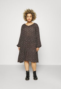 Kaffe Curve - ALIA AMI DRESS - Korte jurk - black/brown