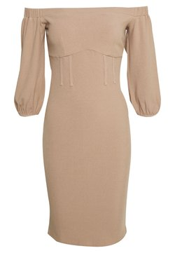 Lost Ink - BARDOT PUFF SLEEVE MIDI DRESS - Shift dress - beige