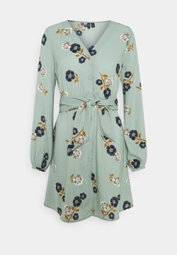 Vero Moda - VMFALLIE TIE DRESS - Blusenkleid - green milieu/newfallie