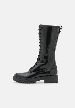 HUGO - AXEL MID BOOT - Stivali con i lacci - black