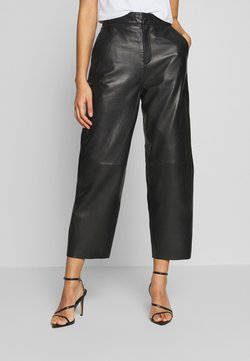 Object - OBJVIOLA  - Leather trousers - black
