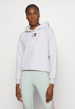 Tommy Hilfiger - CROPPED HOODY FLAG LOGO - Huppari - ice heather