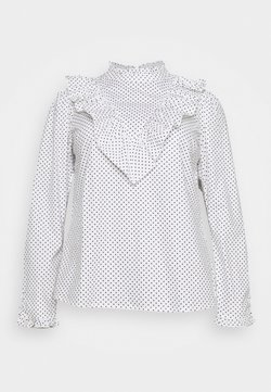 Simply Be - HIGH NECK RUFFLE FRONT BLOUSE - Langarmshirt - white