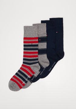 Tommy Hilfiger - SOCK STRIPE GIFTBOX 4 PACK - Sokken - dark blue/grey