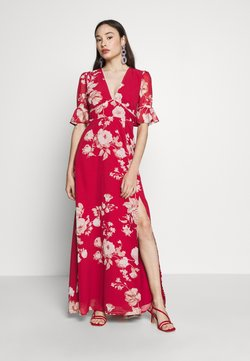 Hope & Ivy Petite - FLUTED SLEEVE OPEN BACK MAXI - Maxi dress - red